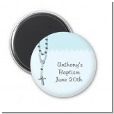 Rosary Beads Blue - Personalized Baptism / Christening Magnet Favors