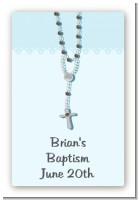 Rosary Beads Blue - Custom Large Rectangle Baptism / Christening Sticker/Labels
