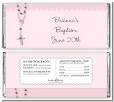 Rosary Beads Pink - Personalized Baptism / Christening Candy Bar Wrappers