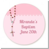 Rosary Beads Pink - Round Personalized Baptism / Christening Sticker Labels