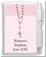Rosary Beads Pink - Baptism / Christening Personalized Notebook Favor