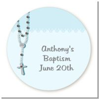 Rosary Beads Blue - Round Personalized Baptism / Christening Sticker Labels
