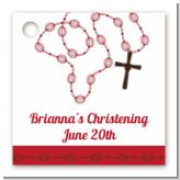 Rosary Beads Maroon - Personalized Baptism / Christening Card Stock Favor Tags