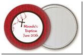Rosary Beads Maroon - Personalized Baptism / Christening Pocket Mirror Favors