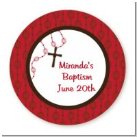 Rosary Beads Maroon - Round Personalized Baptism / Christening Sticker Labels