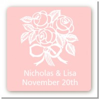 Roses - Square Personalized Bridal Shower Sticker Labels