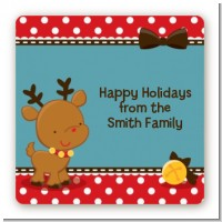 Rudolph the Reindeer - Square Personalized Christmas Sticker Labels