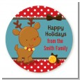 Rudolph the Reindeer - Round Personalized Christmas Sticker Labels thumbnail