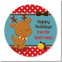Rudolph the Reindeer - Round Personalized Christmas Sticker Labels