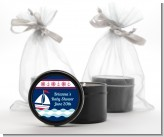 Sailboat Blue - Baby Shower Black Candle Tin Favors