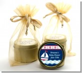 Sailboat Blue - Baby Shower Gold Tin Candle Favors