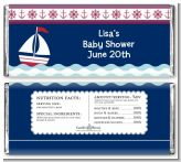 Sailboat Blue - Personalized Baby Shower Candy Bar Wrappers
