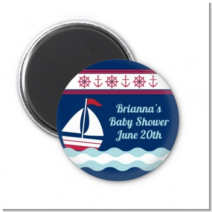 Sailboat Blue - Personalized Baby Shower Magnet Favors