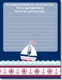 Sailboat Blue - Baby Shower Notes of Advice