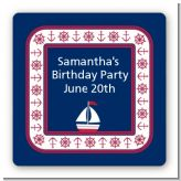 Sailboat Blue - Square Personalized Birthday Party Sticker Labels