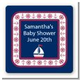 Sailboat Blue - Square Personalized Baby Shower Sticker Labels thumbnail