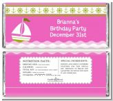 Sailboat Pink - Personalized Birthday Party Candy Bar Wrappers