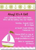 Sailboat Pink - Baby Shower Invitations