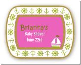 Sailboat Pink - Personalized Baby Shower Rounded Corner Stickers