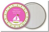 Sailboat Pink - Personalized Baby Shower Pocket Mirror Favors