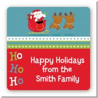 Santa And His Reindeer - Square Personalized Christmas Sticker Labels