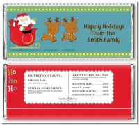 Santa And His Reindeer - Personalized Christmas Candy Bar Wrappers
