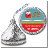Santa And His Reindeer - Hershey Kiss Christmas Sticker Labels