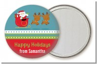 Santa And His Reindeer - Personalized Christmas Pocket Mirror Favors
