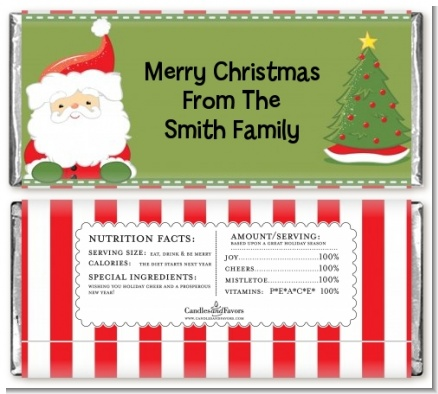 Santa Claus - Personalized Christmas Candy Bar Wrappers