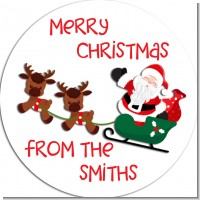 Santa and his Reindeers - Round Personalized Christmas Sticker Labels