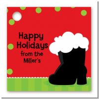 Santa's Boot - Personalized Christmas Card Stock Favor Tags
