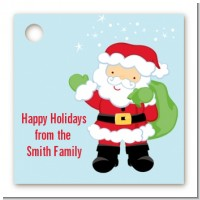 Santa's Green Bag - Personalized Christmas Card Stock Favor Tags