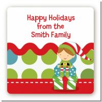 Santa's Little Elf - Square Personalized Christmas Sticker Labels