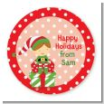 Santa's Little Elf - Round Personalized Christmas Sticker Labels thumbnail
