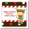 Santa's Little Elfie - Square Personalized Christmas Sticker Labels thumbnail