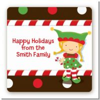Santa's Little Elfie - Square Personalized Christmas Sticker Labels