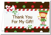 Santa's Little Elfie - Baby Shower Thank You Cards