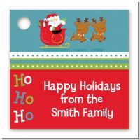 Santa And His Reindeer - Personalized Christmas Card Stock Favor Tags
