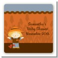Scarecrow Fall Theme - Square Personalized Baby Shower Sticker Labels thumbnail