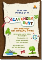Scavenger Hunt - Birthday Party Invitations