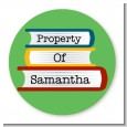 School Books - Round Personalized School Sticker Labels thumbnail
