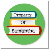 School Books - Round Personalized School Sticker Labels