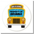 School Bus - Round Personalized School Sticker Labels thumbnail