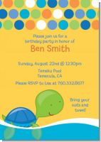 Sea Turtle Boy - Birthday Party Invitations