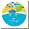 Sea Turtle Boy - Round Personalized Birthday Party Sticker Labels thumbnail