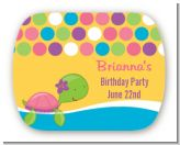 Sea Turtle Girl - Personalized Birthday Party Rounded Corner Stickers
