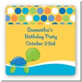 Sea Turtle Boy - Square Personalized Birthday Party Sticker Labels
