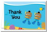 Under the Sea African American Baby Boy Twins Snorkeling - Baby Shower Thank You Cards