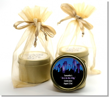 Sex in the City - Bridal Shower Gold Tin Candle Favors