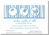 Shake, Rattle & Roll Blue - Baby Shower Petite Invitations